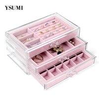 YSUMI Clear Acrylic Storage Box Match Jewelry Display Stand Tray Storage Display Earrings/Necklace/Ring jewelry Organizer box