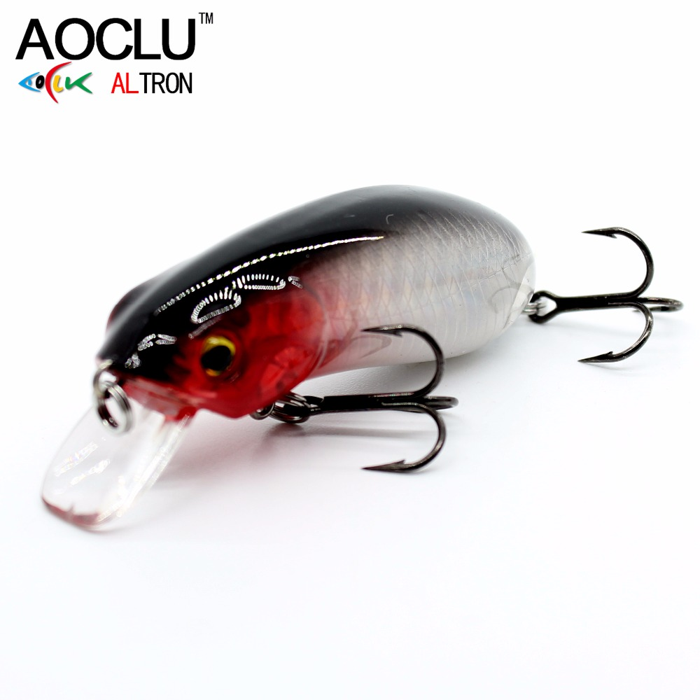 AOCLU NEW Lures Wobbler 5.5cm 10g Hard Bait Minnow Crank Fishing Lure Saltwater Bass Fresh VMC Hooks 6 Colors LURE Tackle