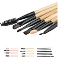 New combination 6Pcs High Quality Bamboo Cosmetic Eyebrow Eyeshadow Brush Horse hair Soft Beauty Makeup Brush Sets Kits Tools
