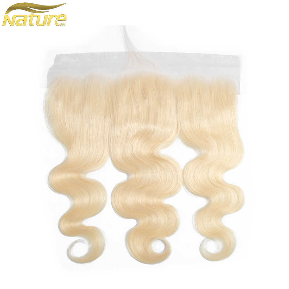 NatureHERE Peruvian 613 Blonde Body Wave Hair 13*4 Lace Frontal Closure Non Remy 100% Human Hair Extensions 8-22 Inch