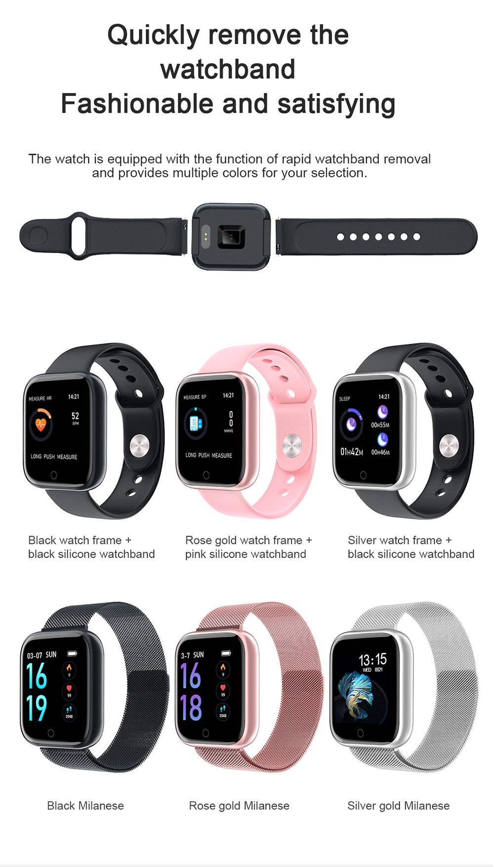 Multi-color smart watches for women