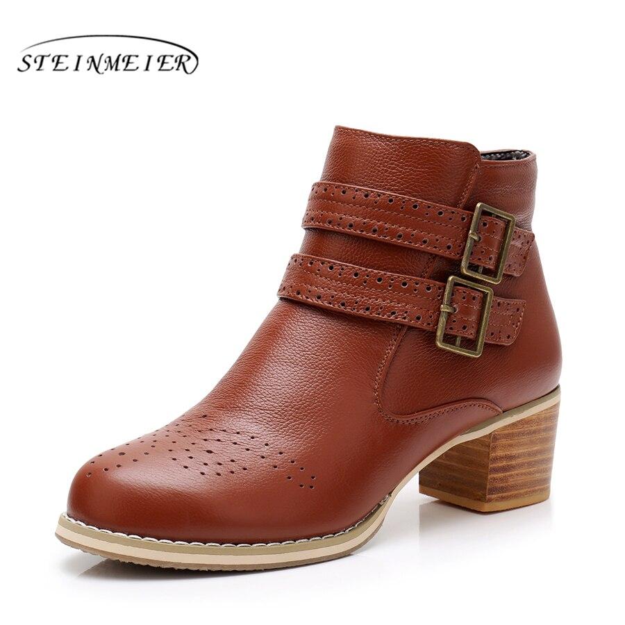 Из натуральной коровьей кожи женские ботильоны зимние ботинки Удобная мягкая обувь высокого качества Брендовая дизайнерская обувь ручной ...