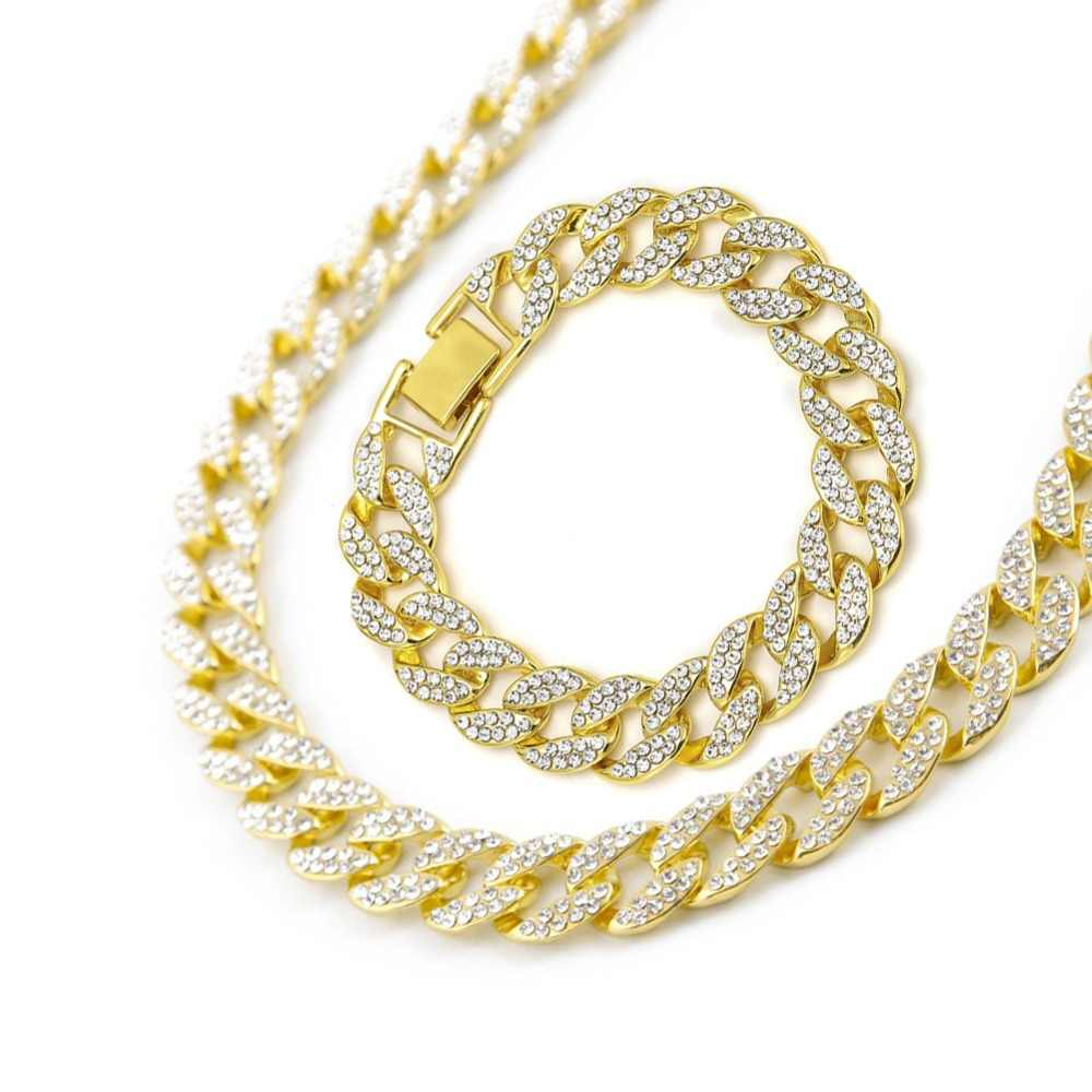 Iced Out Bling Rhinestone Golden Finish Miami Cuban Link Chain Bracelet Necklace Set Men's Hip hop Necklace Bracelet 16-24 Inch