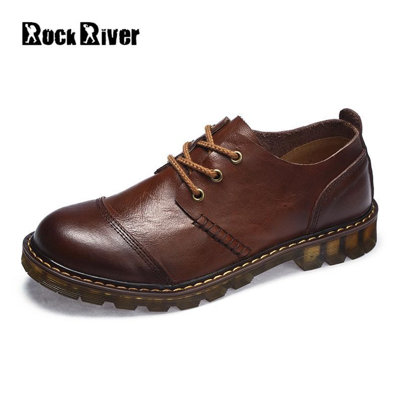 2018 ботинки из натуральной кожи Для мужчин Винтаж ручной работы в британском стиле ботильоны Мужские ботинки Повседневное Доктор Мартинс Ра...