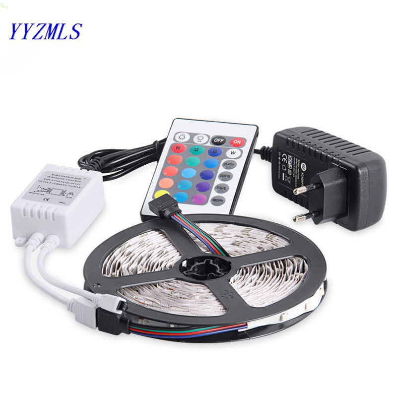 New RGB LED Strip Light 3528SMD 60LED s 5m Flexible Tape Light 16 Colors Change With IR Remote ControllerPower Adapter 2A DC12V