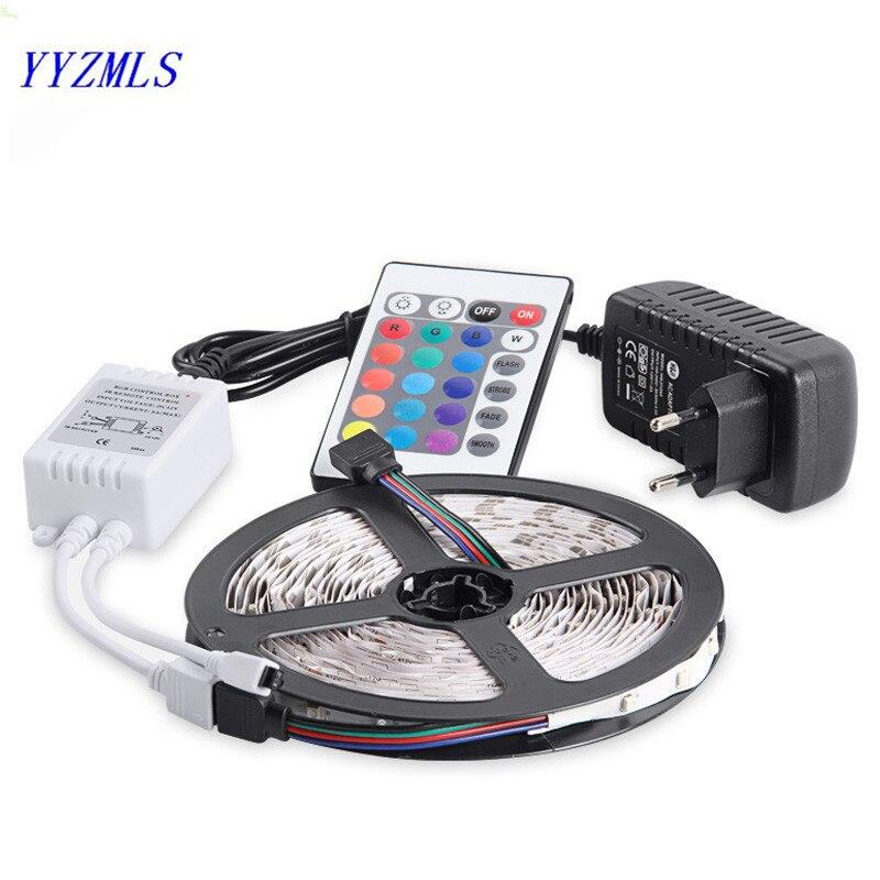 Nouveau RGB LED Bande Lumière 3528SMD 60LED/s 5 m Flexible Bande Lumière 16 Couleurs Changent Avec Télécommande IR contrôleur, puissance Adaptateur 2A DC12V