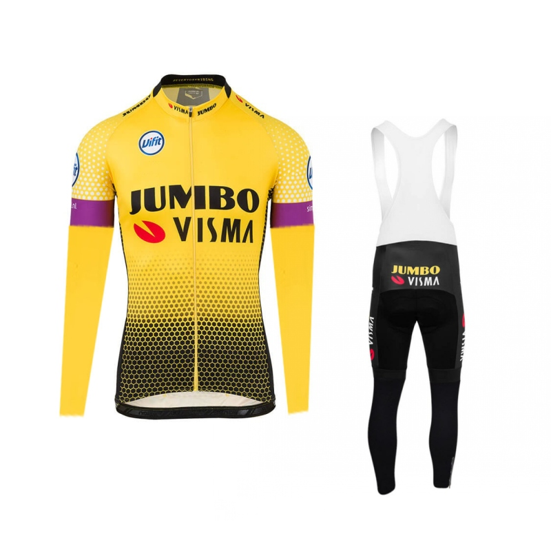 2019 spring thin pro team jumbo visma long sleeve cycling jersey kits mens cycle cloth MTB Ropa Ciclismo Bicycle maillot gel pad