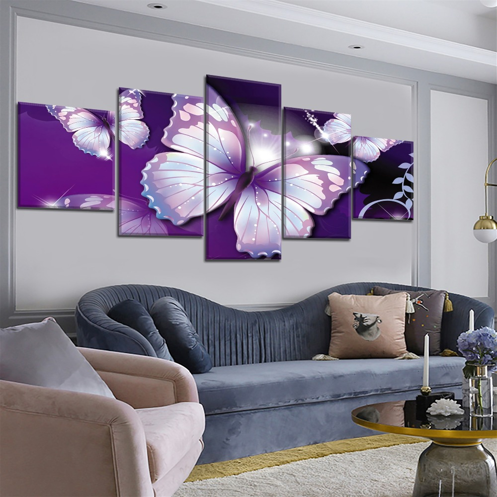 5 Piece Canvas Art Purple Butterfly Animal Poster Modern Decorative Paintings on Canvas Wall Art for Home Decorations Wall Decor in Painting Calligraphy from Home Garden