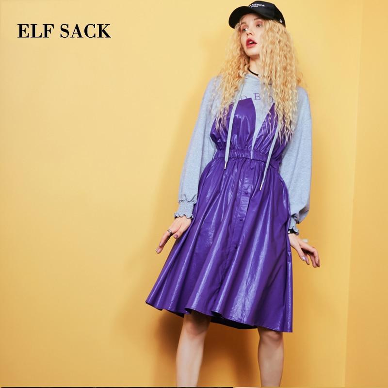 ELF bag automne nouvelles femmes robe décontracté pleine ligne lettre Femme robes mi mollet à capuche lanterne manches Femme Vestido-in Robes from Mode Femme et Accessoires    3