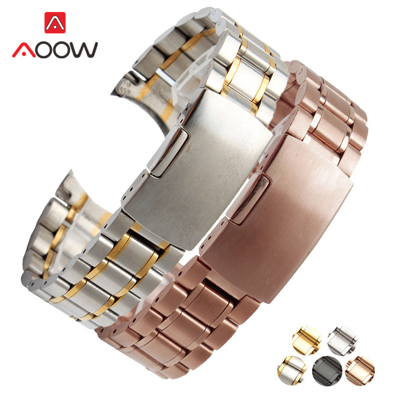 Stainless Steel Band Strap 18mm 20mm 22mm 24mm Seamless Welding Deployment Buckle Rose Gold Watchband Bracelet Watch Accessories