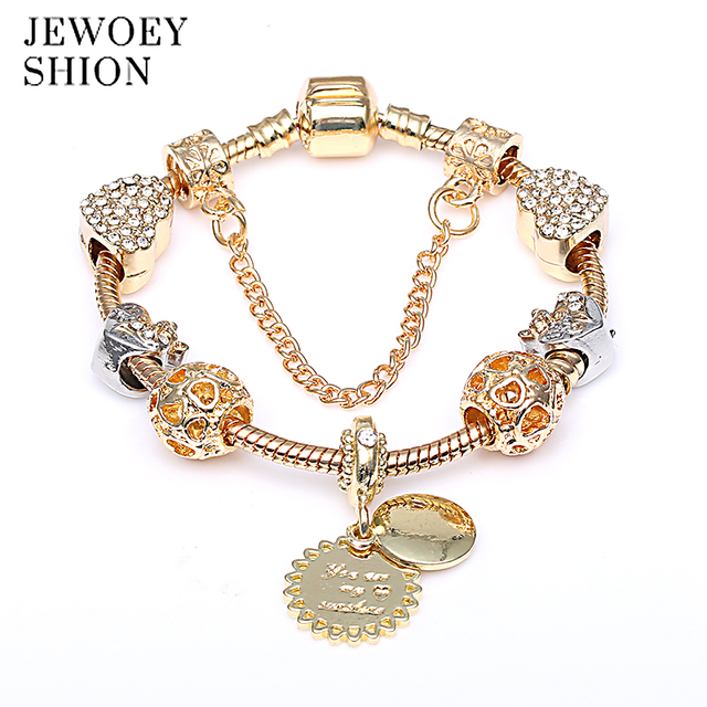 6cd6bacd8 JEWOEY SHION You are my sunshine authentic golden new arrival sunflower  pendant love gift Pandora charm bracelet for women