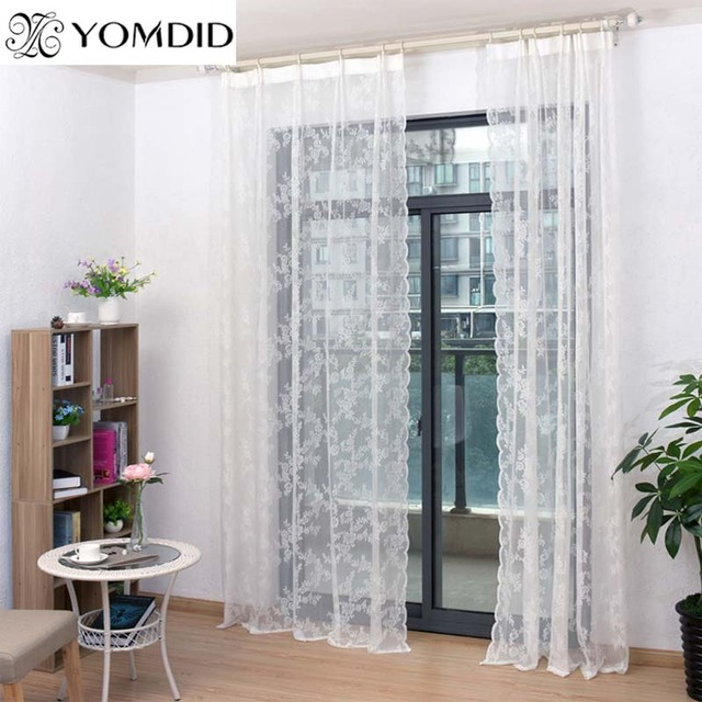 Lace Curtains Tulle Voile Insect Bed Canopy Netting Drape Panel Leaf Door Window Sheer White Curtain For Living Room