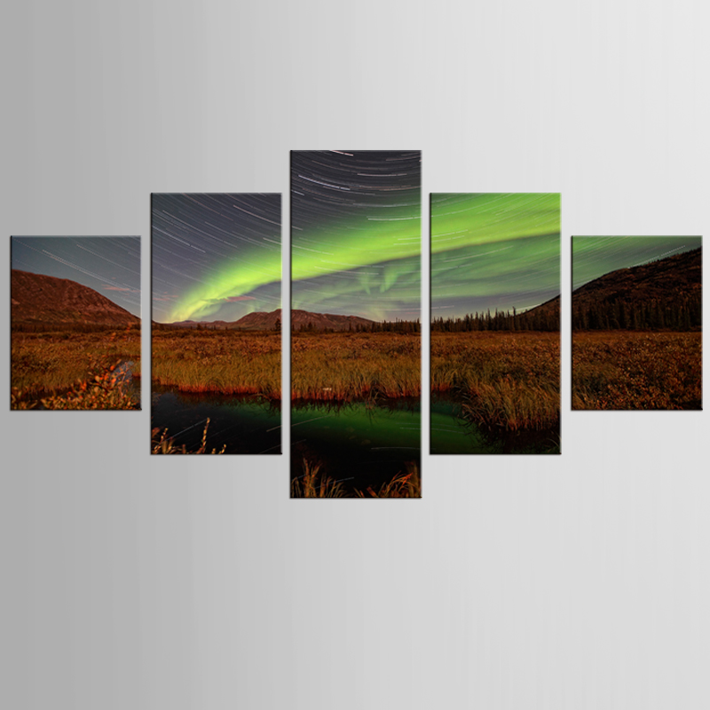 5 pieces of canvas art northern lights and meteor shower painting custom canvas printed on printing wall picture home decoration
