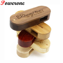 POWERONE customized LOGO Wooden USB Flash Drive pendrive 8GB 16GB 32GB mini Rotation Pen Drive memory Stick LOGO engrave