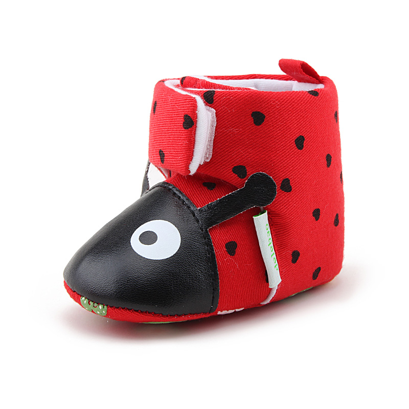 Delebao Big Red Beetle Baby Boots Winter Warm Newborn Toddler Boots 2018 New Design Pure Handmade Baby Shoes