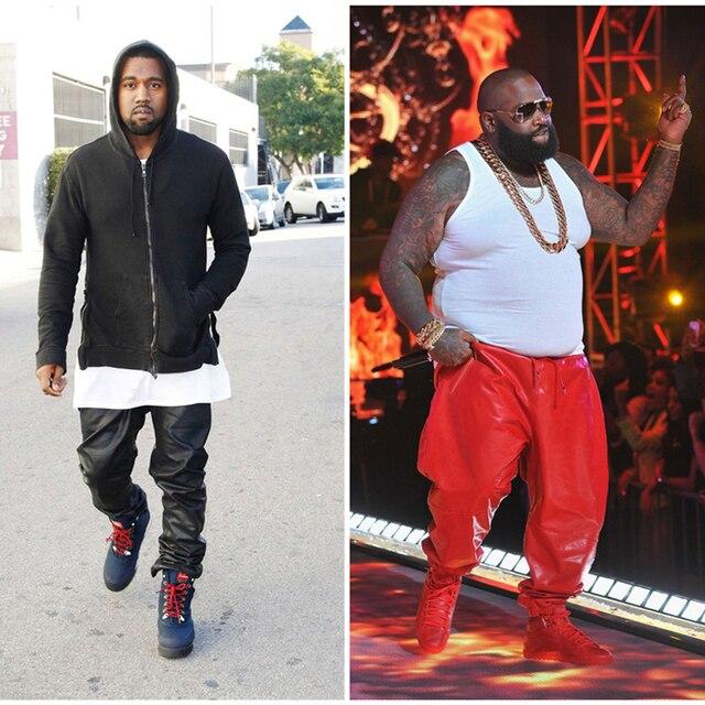 Плюс Размер Мужские Kanye West Рок Кожаные Штаны 2016 Искусственная Кожа PU Мужской Джастин Бибер Черный Красный Мотоцикл Кожаные Штаны