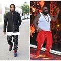 Tallas grandes Para Hombre Kanye West Roca Pantalones De Cuero 2016 de Imitación de Cuero de LA PU Masculina Justin Bieber Negro Rojo de Cuero de La Motocicleta