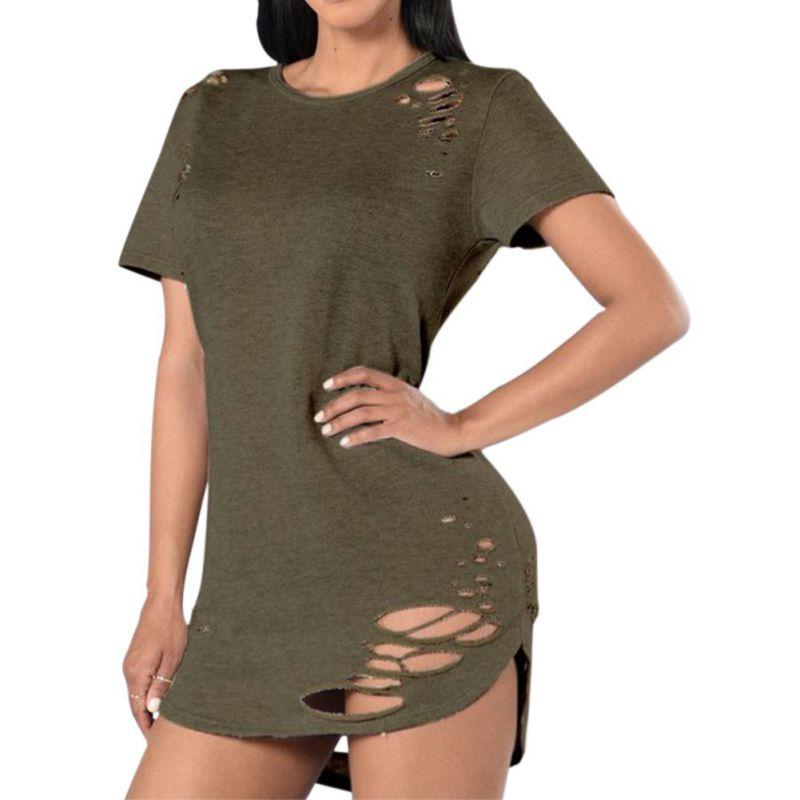 2017 Sexy Black White Cotton Short Sleeve Ripped Tops Summer Holes T Shirt Women Fashion Shirts Casual Loose T-Shirt S-XL