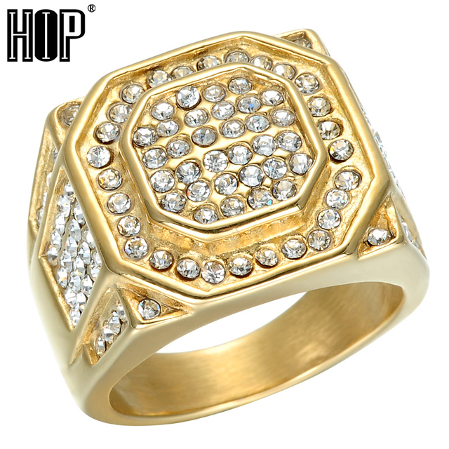 HIP Hop Micro Pave Rhinestone Iced Out Bling Hexagonal Ring IP Gold Filled Titan