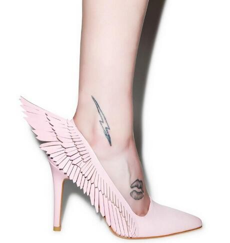 Newest Hot Sale Women Shoes Fashion Young Women Shoes Ankle Pointed Toe Women Party angel Wings Black/Pink/Khaki party shoes kbstyle 2017 new spring shoes for women brand pointed toe womens flats fashion young ladies casual shoes hot sale wholesale
