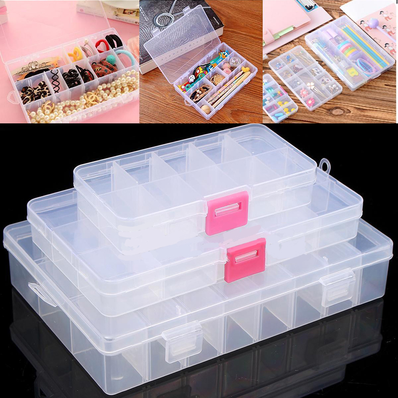 10/15/24 Compartments Jewelry Box Adjustable Jewelry Organizer Plastic Storage Container Box DIY Home Room Tools