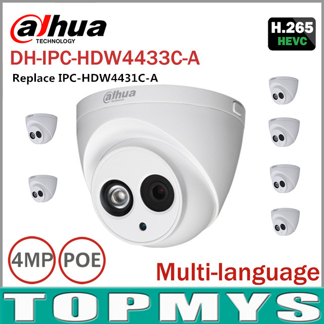 6pcs/lot DaHua 4MP POE IP Camera IPC-HDW4433C-A Day Night infrared 1080P CCTV camera IP67 Waterproof HD Home security ip Camera dh hac hfw2221r z ire6 dahua original hd 1080p infrared night vision security camera ip67 audio cctv camera hac hfw2221r z ire6