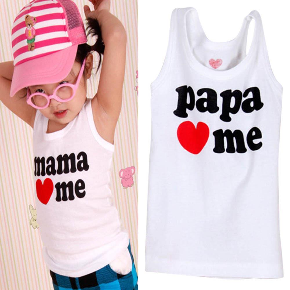 4afcfee20 Hot Sales 2Pcs Baby Clothing Kids Boy Girl Summer T shirt Vest Mama/Papa  Love Me-in T-Shirts from Mother & Kids on Aliexpress.com | Alibaba Group