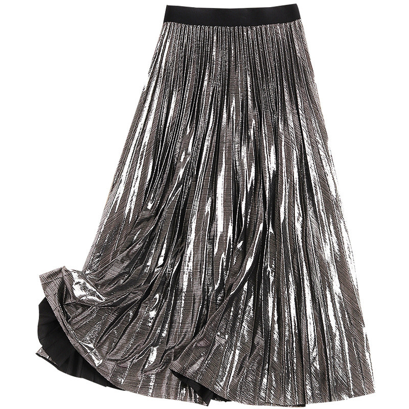 Plata Tela Faldas Metal Negro Calle Verano plata Primavera Sólido Nuevo Plisado Estilo Largo Gótico Negro 2019 La Falda Color De Lurex ZOPq1nP8