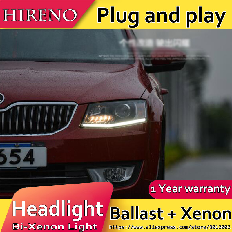 Hireno Headlamp for Skoda Octavia 2015-2016 Headlight Assembly LED DRL Angel Lens Double Beam HID Xenon 2pcs 2pcs purple blue red green led demon eyes for bixenon projector lens hella5 q5 2 5inch and 3 0inch headlight angel devil demon