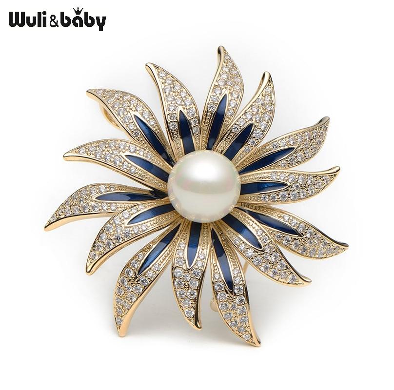 купить Wuli&baby Scarf Buckle Copper Rhinestone Enamel Flower Brooches Simulated Pearl Flower Banquet Brooch Pins Scarf Buckle Gift недорого