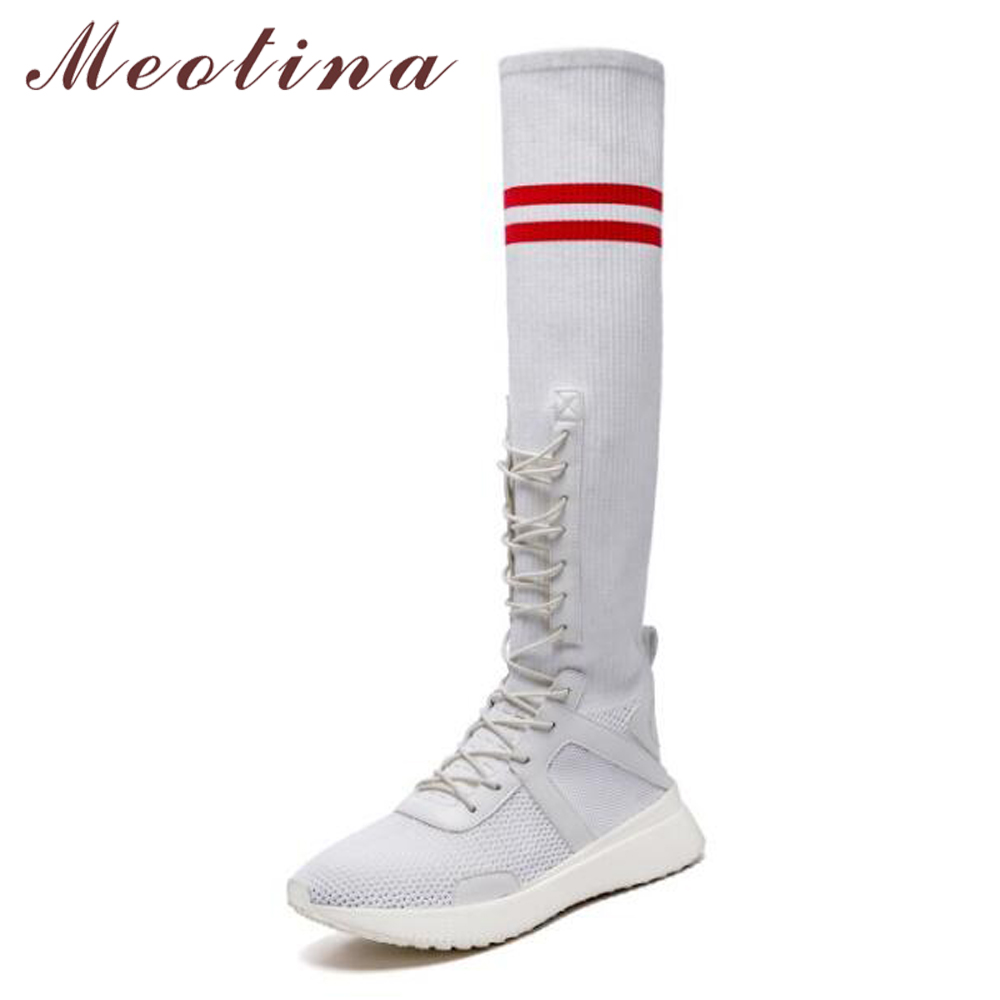 Meotian Knee High Boots Sock Boots Women Winter Stripe Lace Up Tall Boots Causal Ladies Sneakers