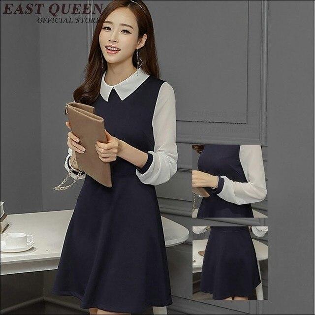 online store d4231 77218 Abito nero con colletto bianco delle donne del vestito femminile sexy  collare scuola KK1082