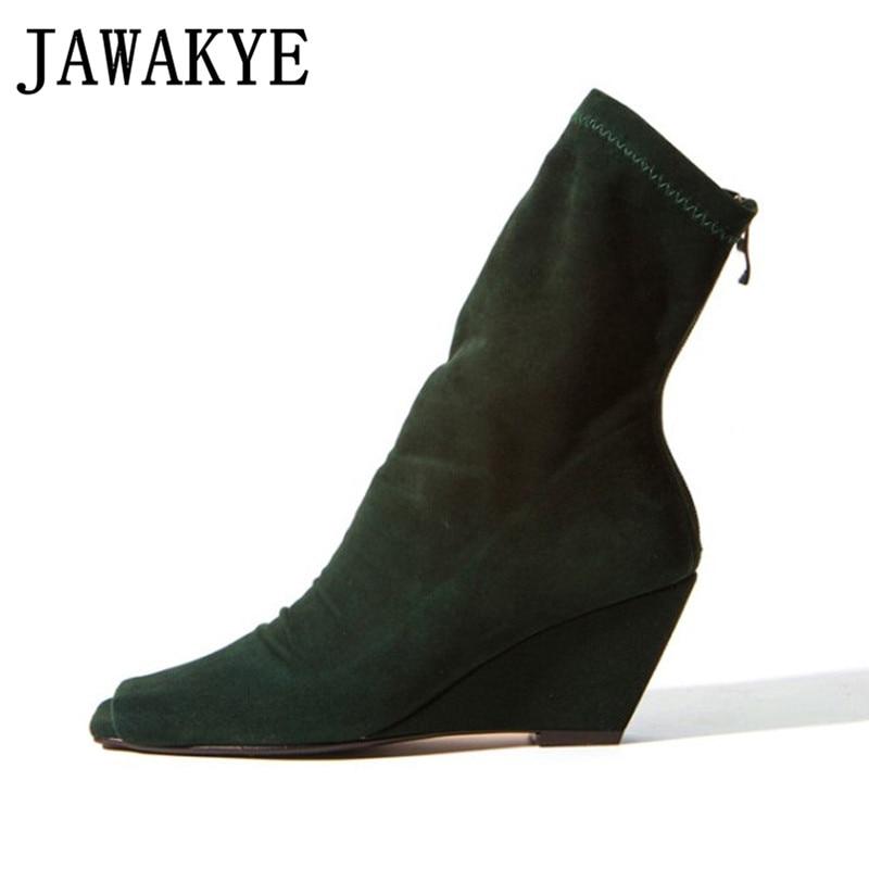 Au Talons Green 2018 Élastique Cheville black Pour Femmes Chaussures Botas Mujer Dos Classique Bottes Chaussette Dames Peep Glissière D'été Wedge Toe Sandales ZwRq81XI