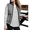 2016 New Arrival Women Vest Coat Slim Fall Winter Quilted Herringbone Padded Vest With Zipper veste femme For Women Spring