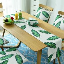 Modern Simple Style Cotton Fabric Table Runner Leaf Printed for Wedding Party Home Hotel Bed Flag Tail Towel