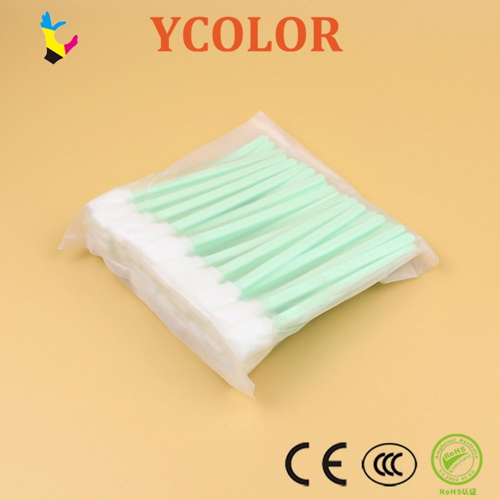 50 Pcs Tipped Cleaning Solvent Swabs Foam For Epson Mutoh Mimaki Roland Printer