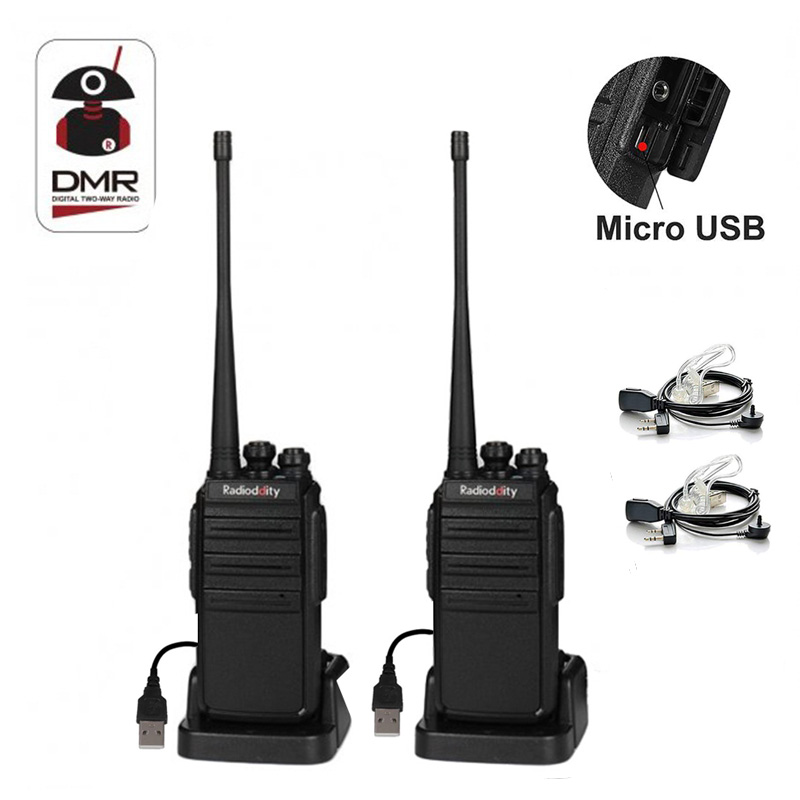 2/4/6 PCS Radioddity GA-2S Two Way Radio UHF 400-470MHz 16 CH Rechargeable VOX Long Range Walkie Talkie