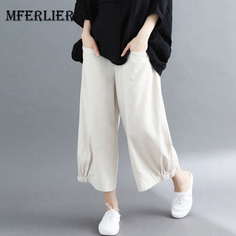 Mferlier Summer   Wide     Leg     Pants   Elastic Waist Pocket Elastic   Pants     Legs   Loose Casual Ankle Length Cotton Linen Women   Pants