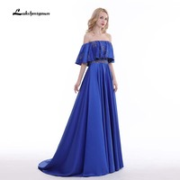 Boat Neck Royal blue Formal Evening Dresses Beaded Floor Length Eveing Prom Gown Robe De Soiree 2018