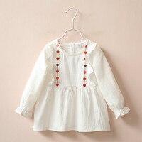 Girls Tops Kids Designer Brand Kids 2016 Bobo Choses Ruffle Raglan Shirts White Pink Colour Love