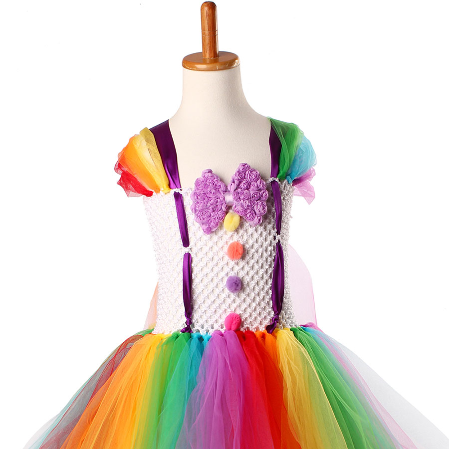 Girls Circus Fancy Clown Tutu Dress with Bow Children Handmade Rainbow Tulle (11)