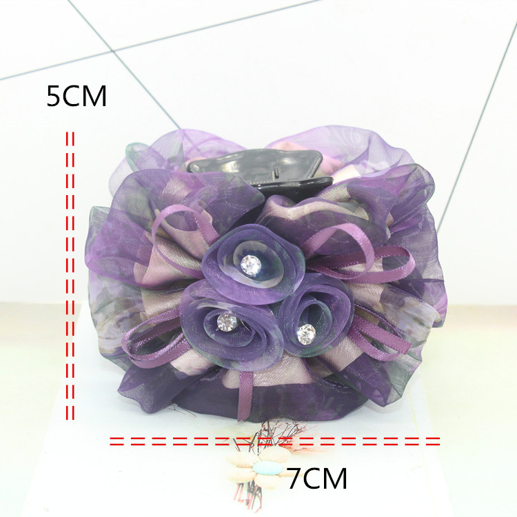 5pc luxury Rose Floral gauze cloth Hairpin Crab clip Rhinestones Clips Claws Grasp Grip Clamp for Women Elegant Hair Accessories