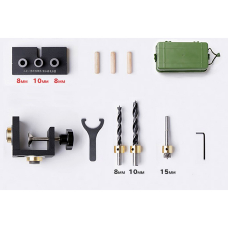 Woodworking Puncher Tool Woodworking Drill Guide Set 3 In 1 Locator Jig Joinery Hand Tool With Sponge Box