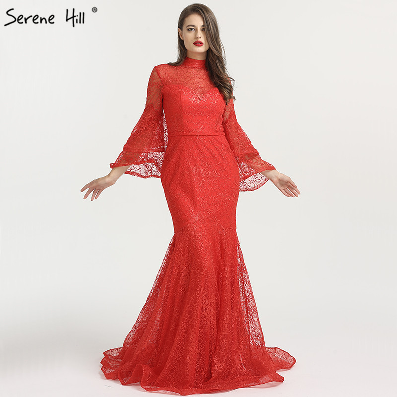 New Mermaid High Collar Fashion   Evening     Dresses   2019 Long Sleeves Lace Sexy Formal   Evening   Gowns Serene Hill LA6555
