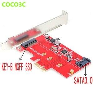SATA 3.0 M.2 B Key slot SSD-E Kaart SATA III 6 Gbps HDD M.2 B & M Sleutel SSD PCI Express card met Low Profile Bracket ASM1061