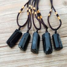Natural Crystal Black Tourmaline Stone Pendant Original Ore Specimen Fashion Jewelry Accessories Gift