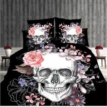 sale horse 3D human skeleton black skull death's-head design bedding set queen bed sheet set duvet cover set(China)
