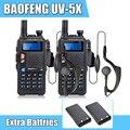 2 pçs/lote w / 2 pcs baterias extras Baofeng UV-5X versão atualizada de Baofeng UV-5R UHF + VHF Dual Band rádio em dois sentidos Walkie Talkie