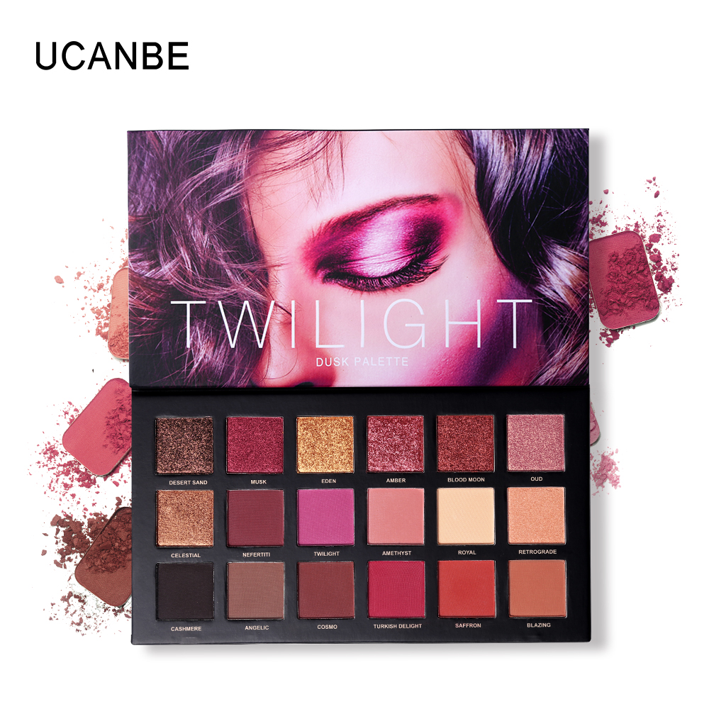 UCANBE Brand 18 Colors Eyeshadow Palette Makeup Rose Gold Matte Shimmer Glitter Eye Shadow Powder Pigmentded Smoky Nude Cosmetic