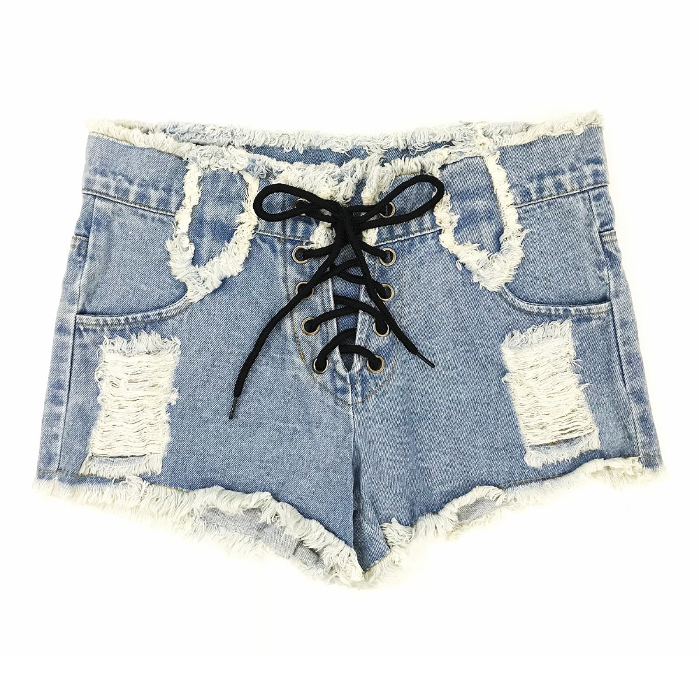 2019 New Arrival Casual Summer Short Jeans Hot Women Shorts Sexy Jeans BF High Waist Denim Drawstring Hole Jeans
